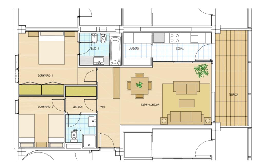 Moderno appartamento con 2 camere da letto con grande potenziale in mare a Playa d'en Bossa